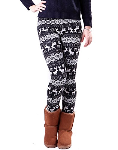 HDE-Womens-Funky-SnowflakeReindeer-Nordic-Pattern-Fleece-Lined-Winter-Leggings-Two-Tone-Reindeer-0