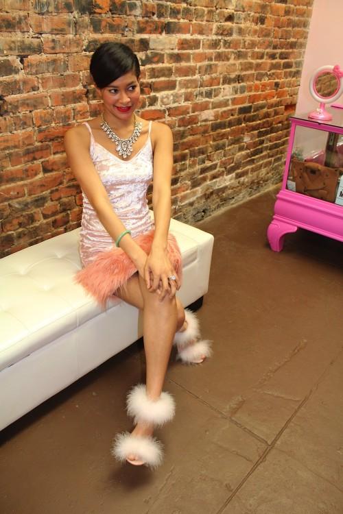 velvet fur dress