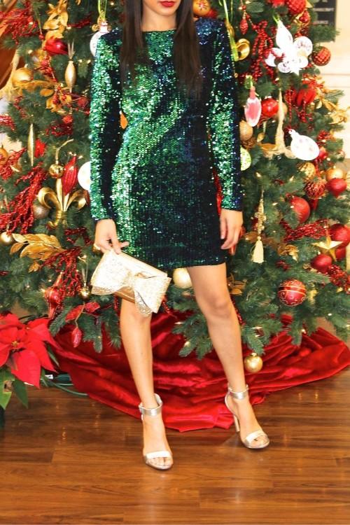 emerald green sequin dress 4