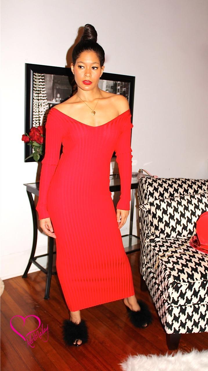 b53aa456dc2d Red Off Shoulder Knit Dress - Alex Malay